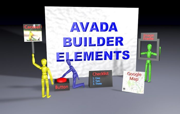 Large wall with AVADA Builder Elements on it and small graphics for google maps, button, image frame and image carosel