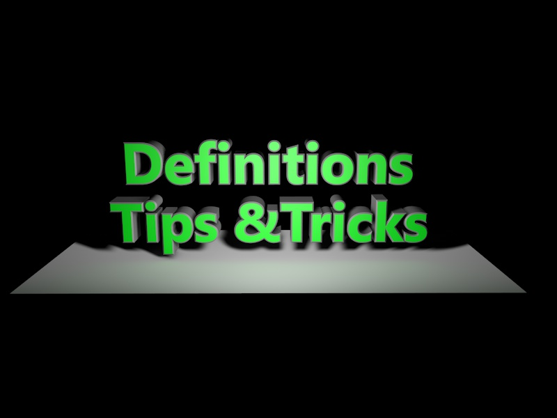Image for blog post: Definitions Tips & Tricks in block letters with shadows