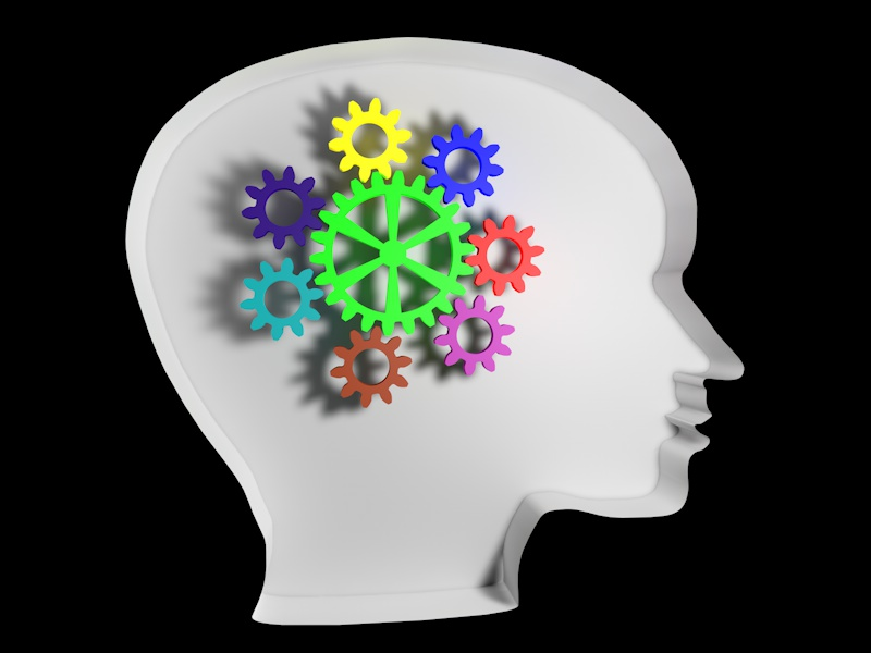 Image for google analytics blog post. Outline of a human head with gears inside