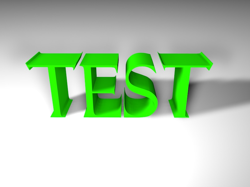 Test in green letters