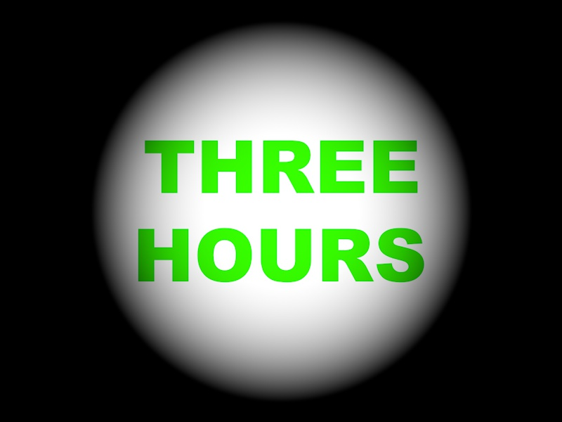 Three Hours is written in green text