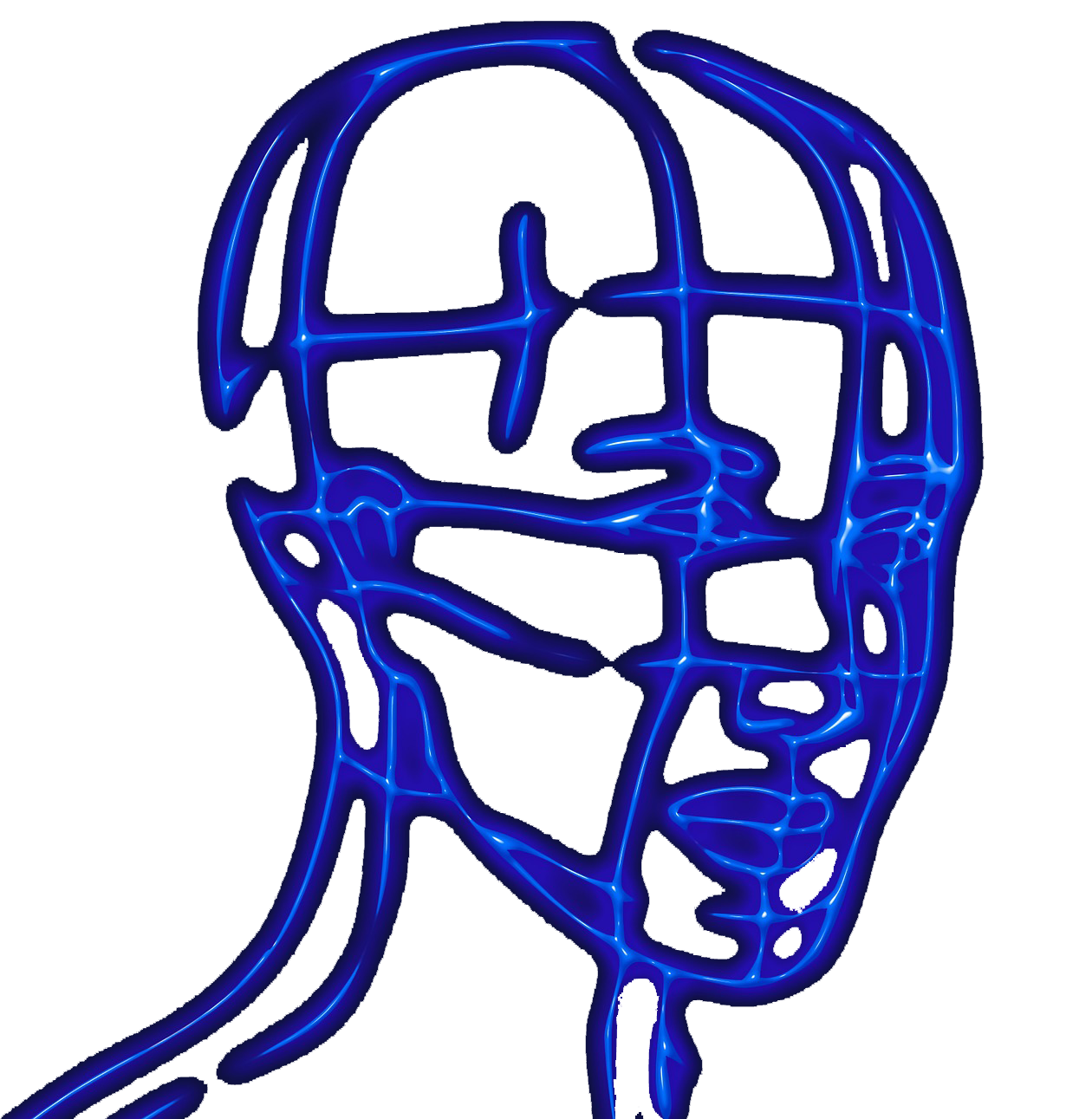 human head glowing blue outline